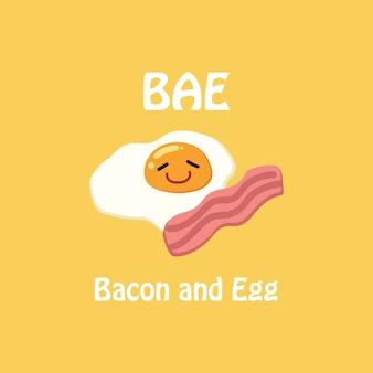 Vetor da ilustração do ovo e do bacon.