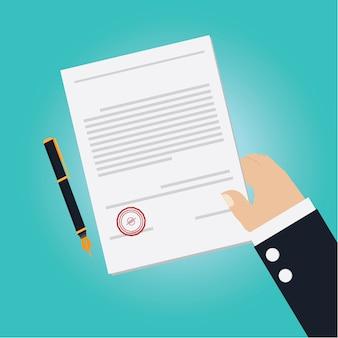 Vetor da mão que faz o acordo para assinar o contrato