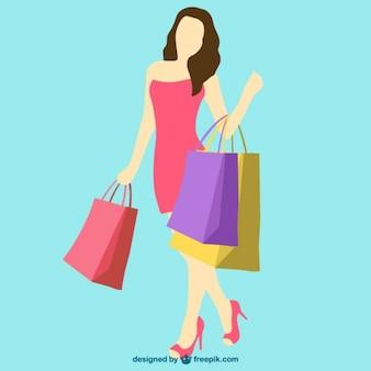 Vetor da menina de compras