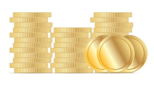 Vetor da pilha da moeda de ouro. dinheiro liso do euro panny do metal