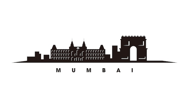 Vetor da silhueta do horizonte de mumbai
