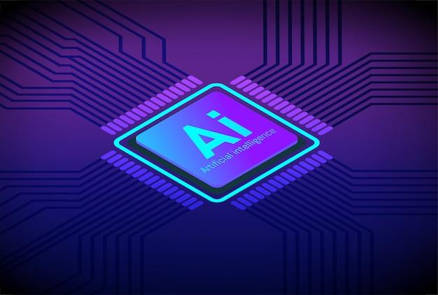 Vetor da tecnologia futura da inteligência artificial do processador central
