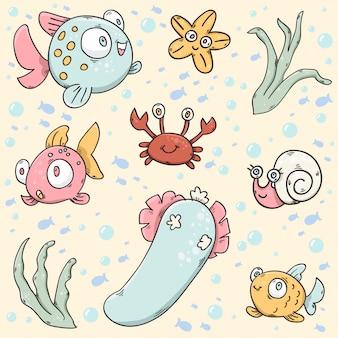 Vetor da vida marinha