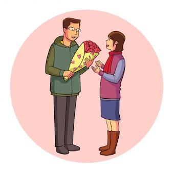 Vetor dando flores no dia dos namorados