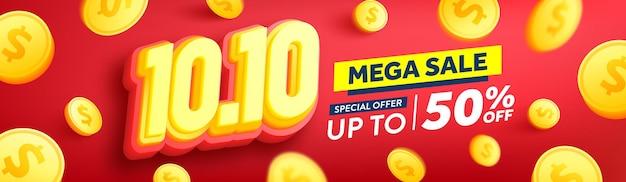 Vetor de 1010 cartaz ou banner do dia de compras com moedas de ouro sobre fundo vermelho