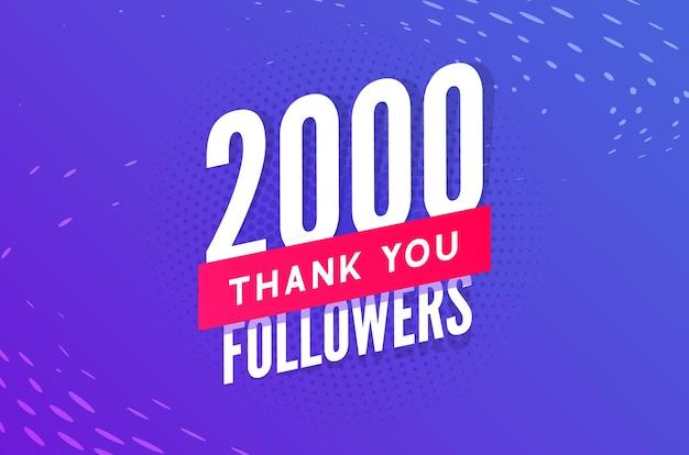 Vetor de 2.000 seguidores saudação cartão social, obrigado seguidores