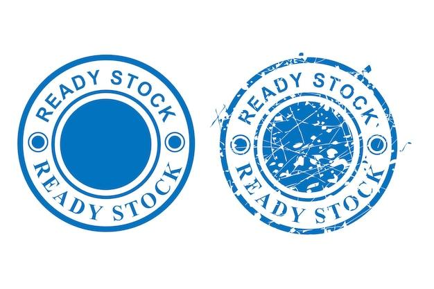 Vetor de 2 estilos de carimbo de borracha grunge de círculo azul, estoque pronto, isolado no branco