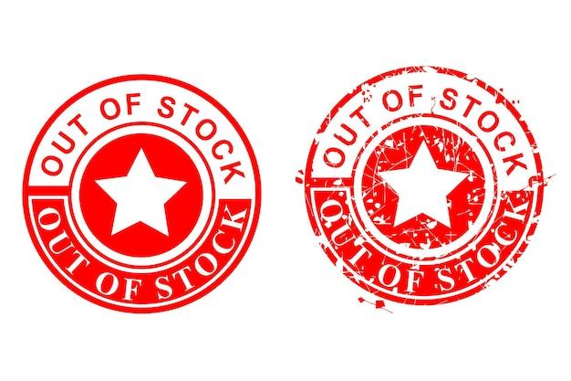 Vetor de 2 estilos de carimbo de borracha vermelho círculo grunge, esgotado, isolado no branco