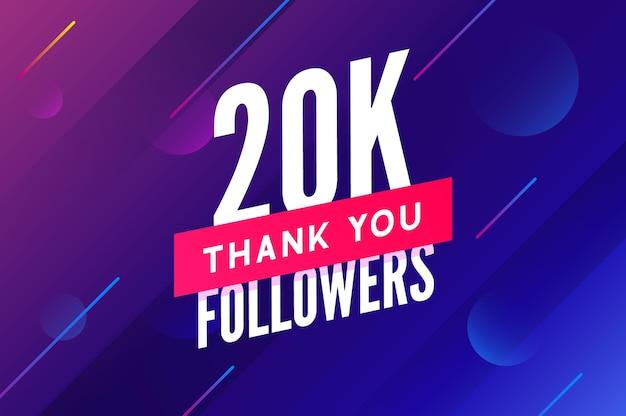 Vetor de 20000 seguidores saudação cartão social, obrigado seguidores