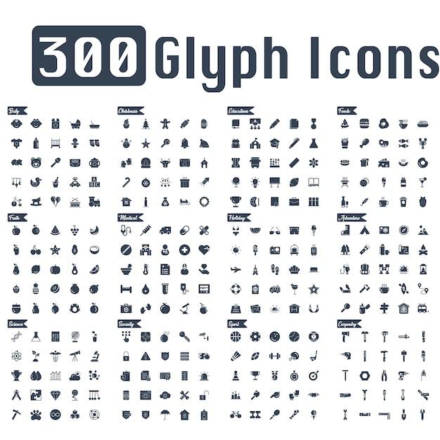 Vetor de 300 ícones de glifo