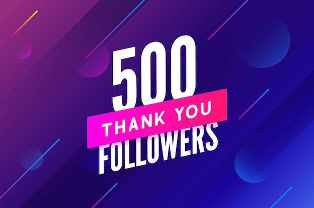Vetor de 500 seguidores saudação cartão social, obrigado seguidores