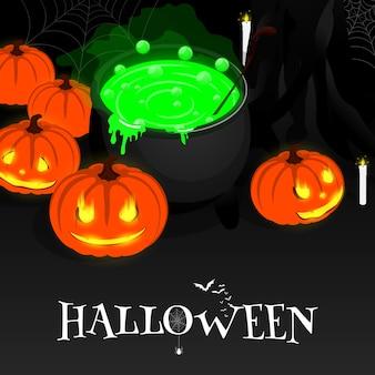 Vetor de abóbora feliz halloween isométrica caldeirão