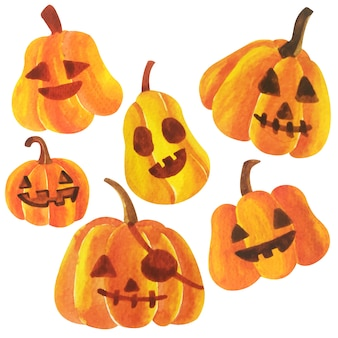Vetor de abóboras de halloween em aquarela.