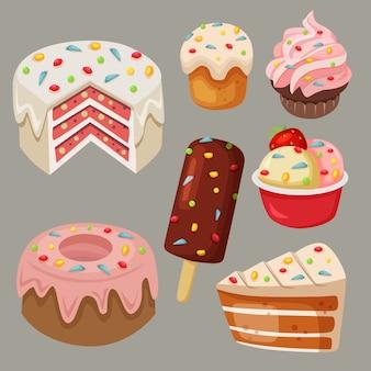 Vetor de ações deliciosas doces e bolo com arco-íris polvilha coleção conjunto de elemento