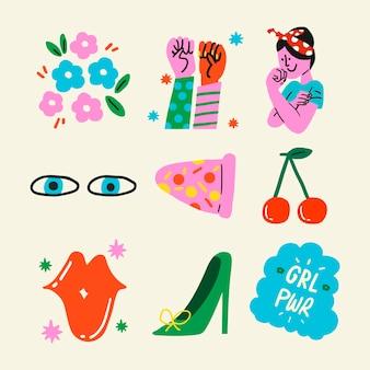 Vetor de adesivo de empoderamento de mulher definido no estilo pop art