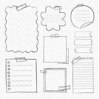 Vetor de adesivos digitais definidos em estilo desenhado à mão