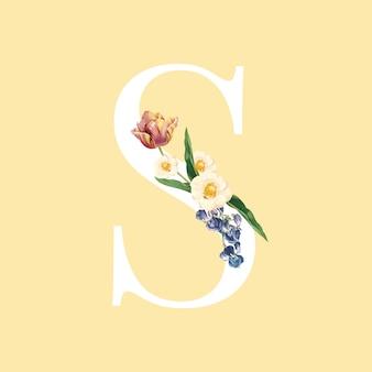 Vetor de alfabeto floral letra maiúscula s