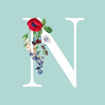 Vetor de alfabeto floral letra n maiúscula