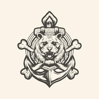 Vetor de âncora de tigre