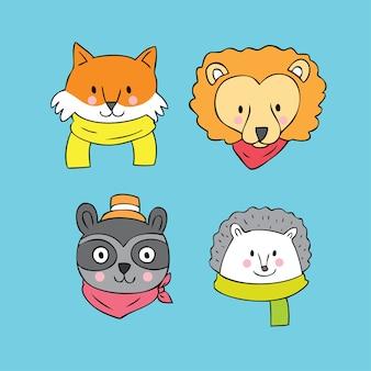 Vetor de animais de rosto bonito dos desenhos animados.