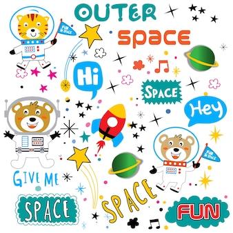 Vetor de animais dos desenhos animados de padrão de espaço