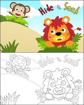 Vetor de animais engraçados dos desenhos animados brincar de esconde-esconde