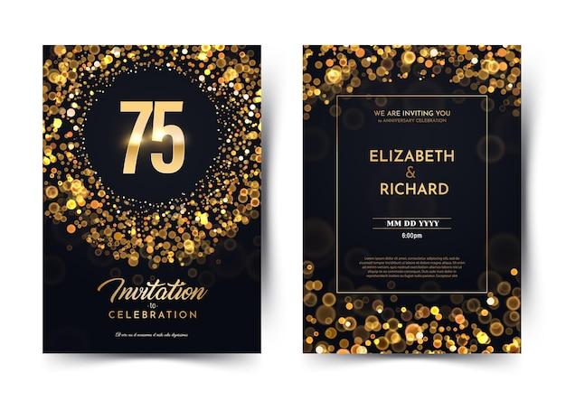 Vetor de aniversário do décimo ano papel preto convite de luxo cartão duplo casamento de setenta e cinco anos Vetor Premium