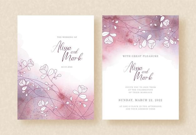 Vetor de aquarela roxa com ramo de flores no cartão de convite de casamento