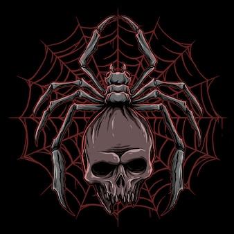 Vetor de aranha com ilustração de caveira