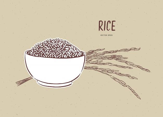 Vetor de arroz em tigela com ramo de arroz