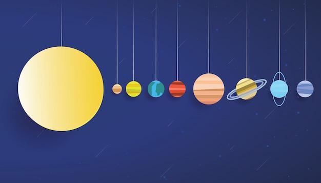Vetor de arte de papel do sistema solar