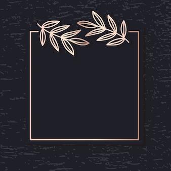 Vetor de arte padrão quadro dourado deixa o cartão de cobertura elegante fundo
