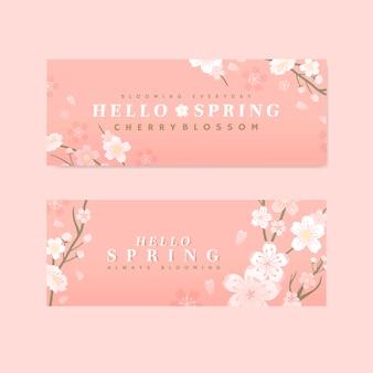 Vetor de bandeira de flor de cerejeira rosa