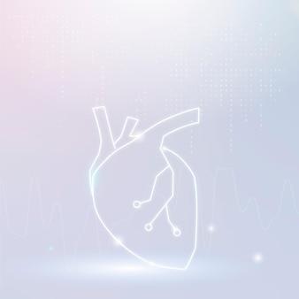 Vetor de banner de coração para tecnologia cardíaca