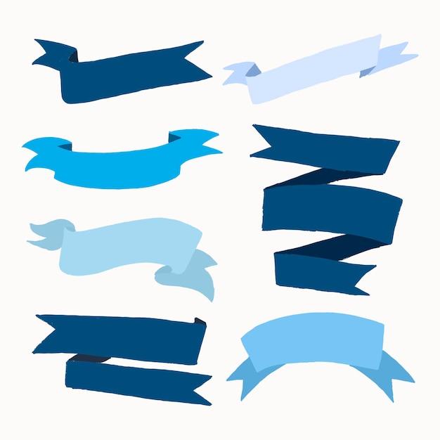 Vetor de banner de fita azul, conjunto de design plano de rótulo