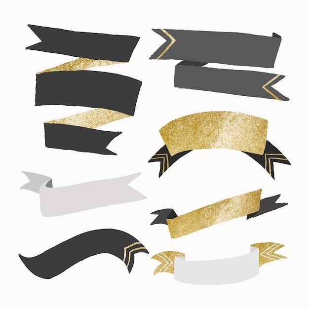Vetor de banner de fita estética, conjunto de design de ouro brilhante