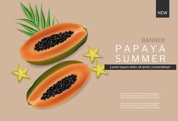 Vetor de banner de verão mamão realista. planos de fundo do modelo de frutas tropicais