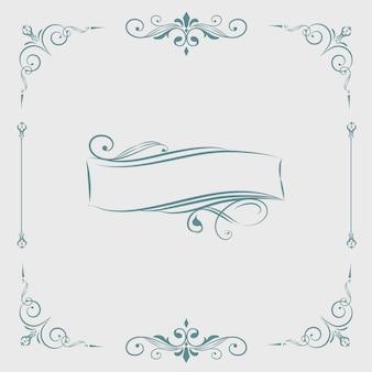 Vetor de banner decorativo ornamento caligráfico