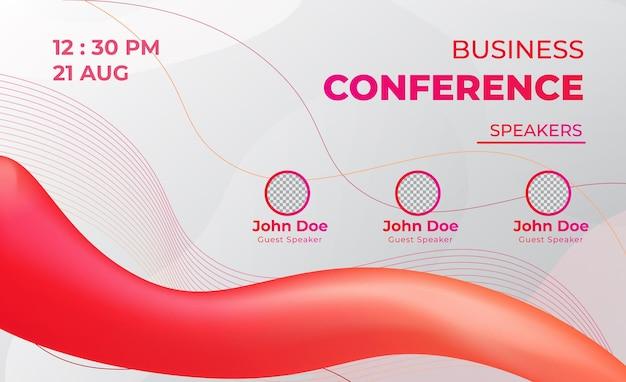 Vetor de banner web ao vivo de conferência de negócios vermelha