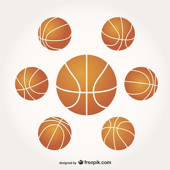 Vetor de basquete conjunto bola