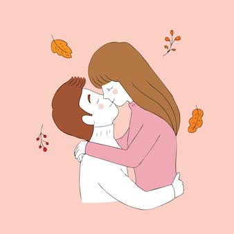 Vetor de beijo dos pares bonitos do outono dos desenhos animados.