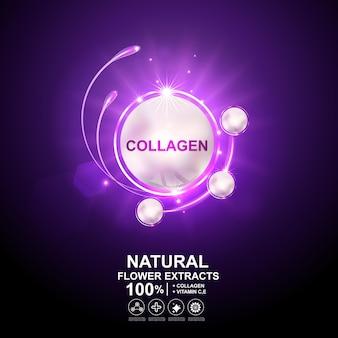 Vetor de bola de colágeno ou soro e pele reparadora de efeito de luz para produtos para a pele