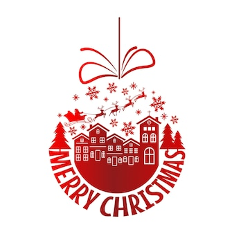 Vetor de bola vermelha de natal, cartaz tipográfico de feliz natal. vetor eps 10.