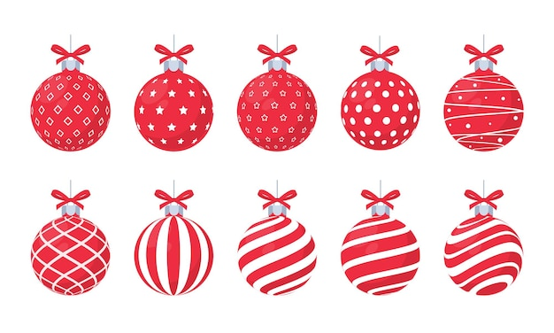 Vetor de bola vermelha de natal com padrão branco para a celebração do natal