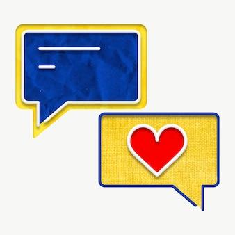 Vetor de bolha de discurso com gráfico de mensagens de coração