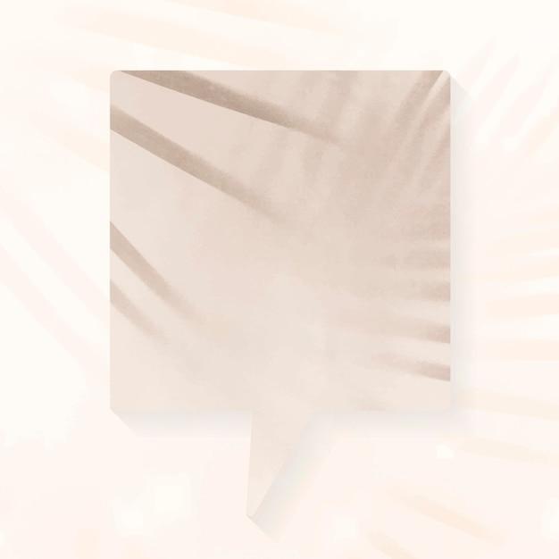 Vetor de bolha de discurso de anúncio em branco, sombras estéticas