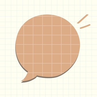 Vetor de bolha de discurso em estilo de padrão de papel pardo de grade