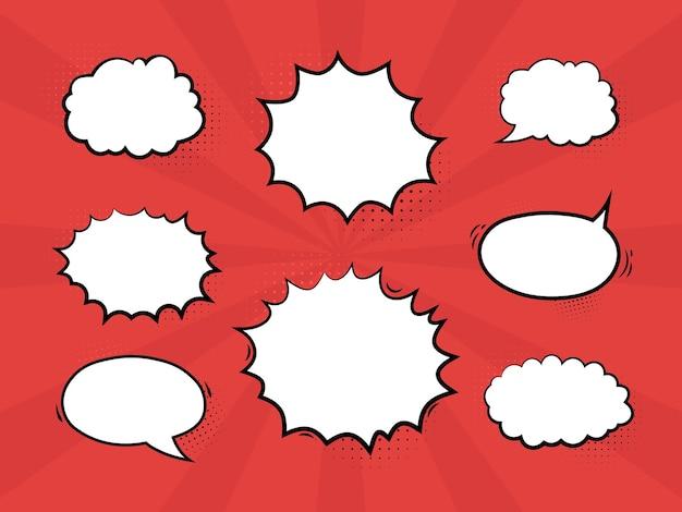 Vetor de bolhas de discurso de quadrinhos pop art vintage definido em preto e branco