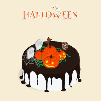 Vetor de bolo de chocolate isométrica feliz halloween