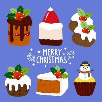 Vetor de bolos de feliz natal.